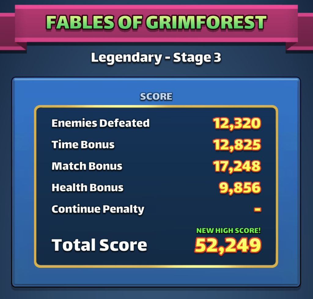 Fables of Grimforest scoring