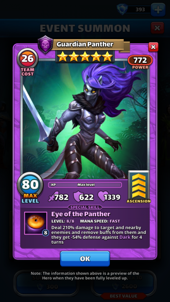 Empires and puzzles Hero Guardian Panther