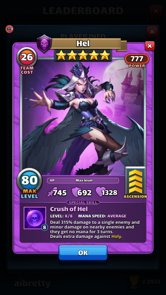 Empires and puzzles Hero Hel