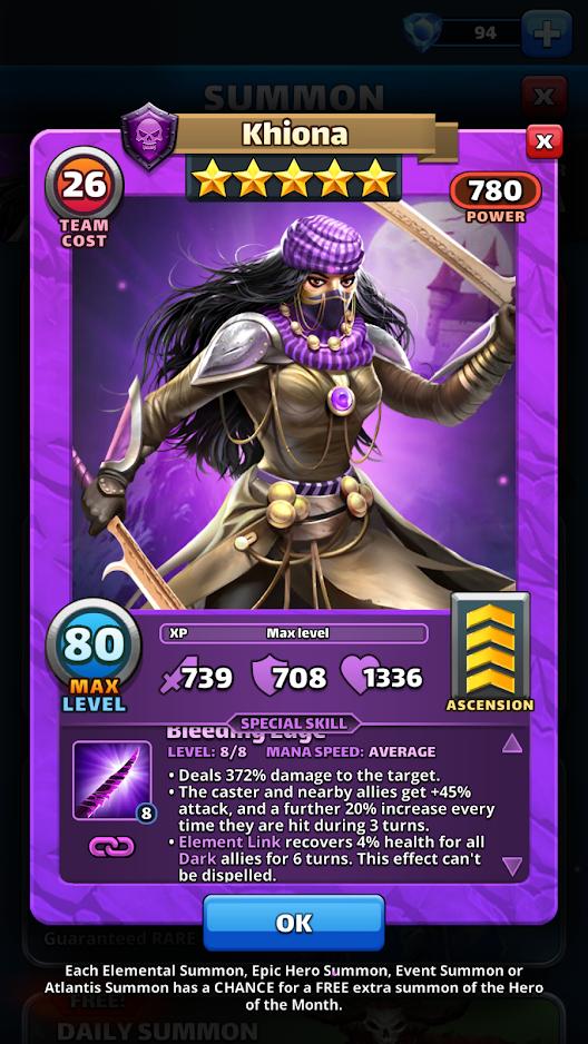 Empires and puzzles Hero Khiona