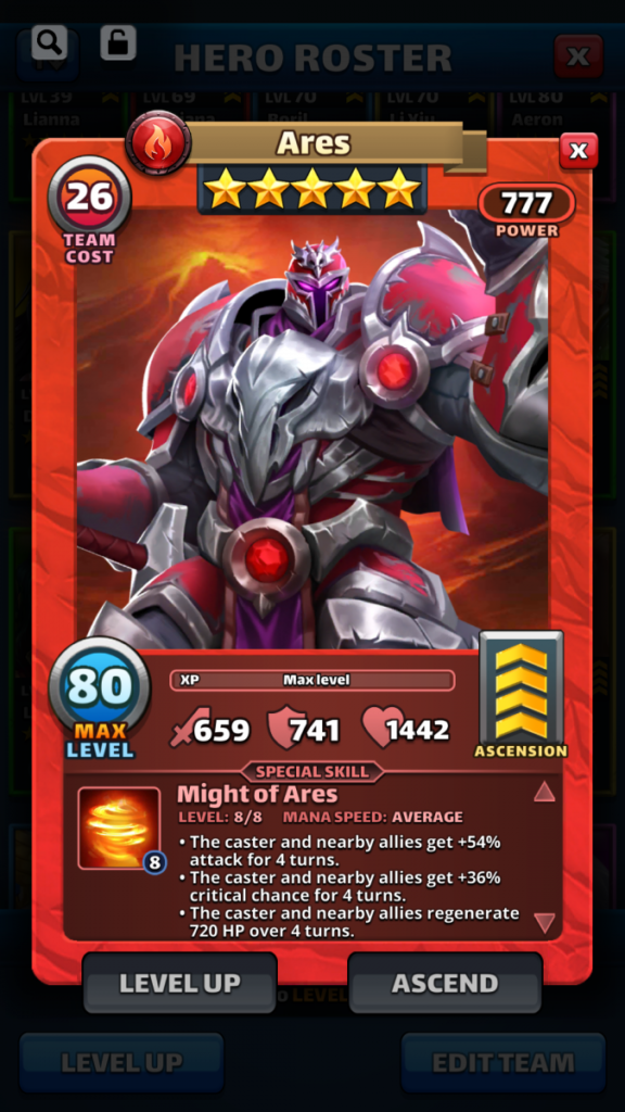 Empires and puzzles Hero Ares