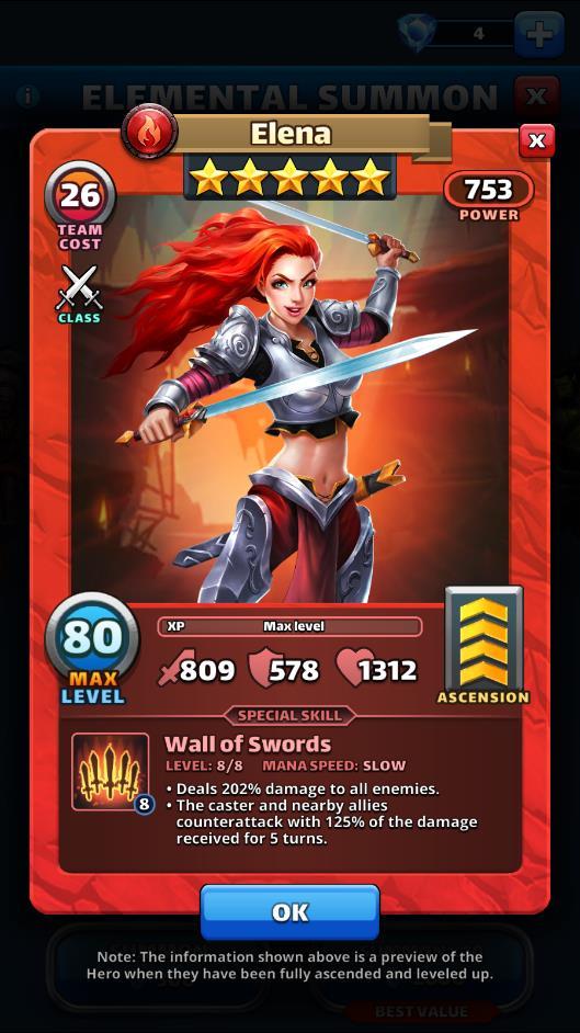 Empires and puzzles Hero Elena