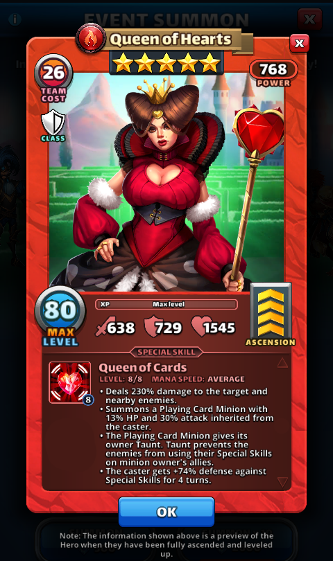 Empires and puzzles Hero Queen of hearts