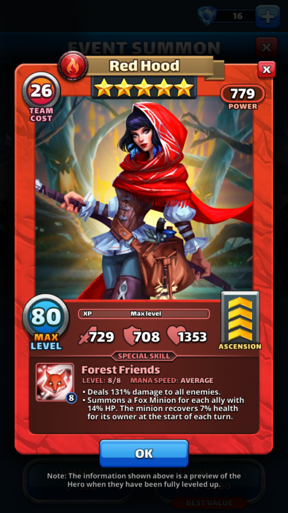 Empires and puzzles Hero Red Hood