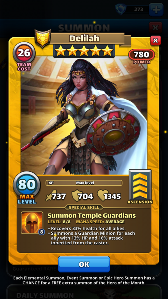 Empires and puzzles Hero Delilah