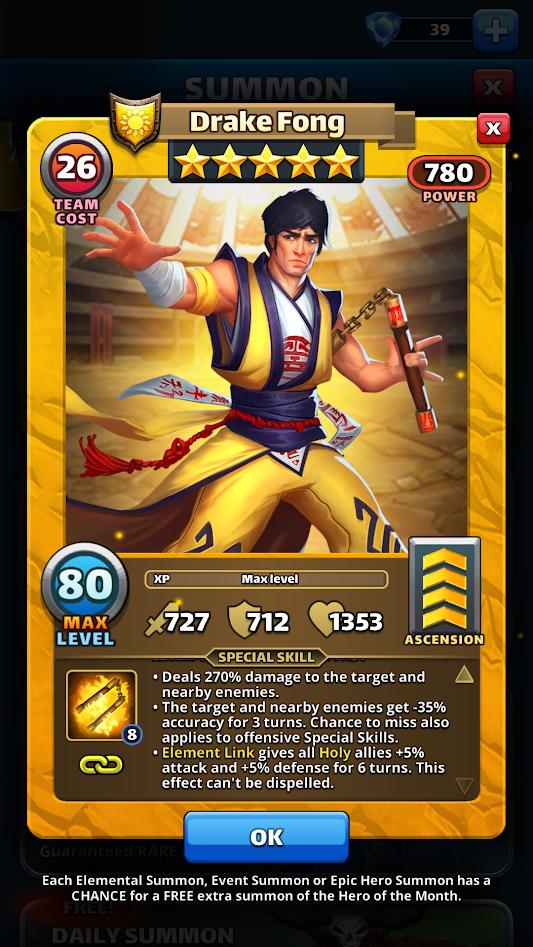 Empires and puzzles Hero Drake Fong