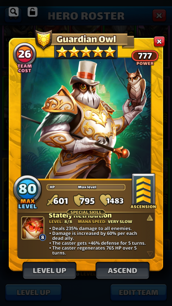 Empires and puzzles Hero Guardian Owl