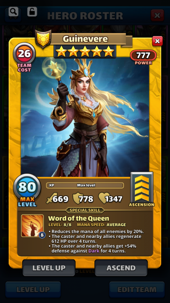 Empires and puzzles Hero Guinevere