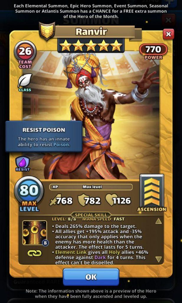 Empires and puzzles Hero Ranvir