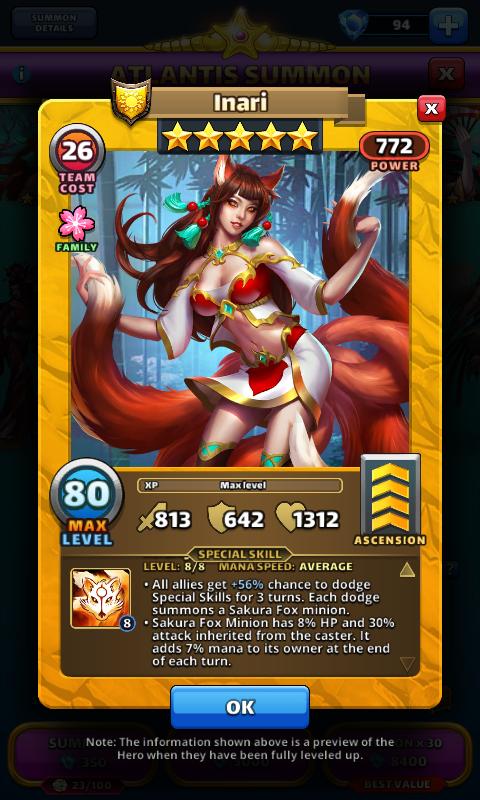 Empires and puzzles Hero Inari