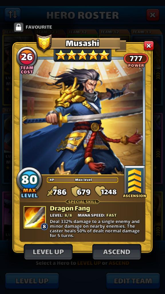 Empires and puzzles Hero Musashi