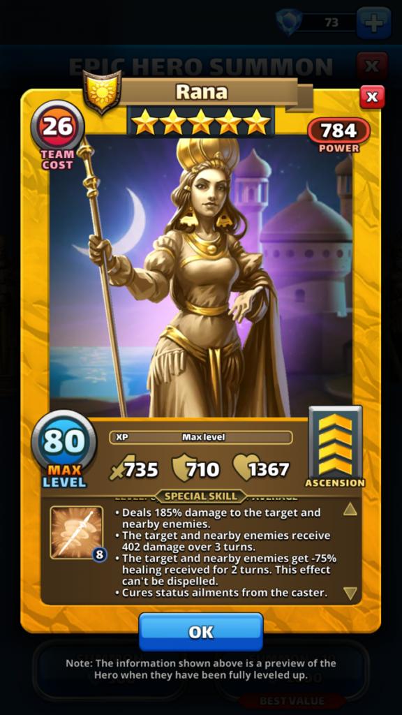 Empires and puzzles Hero Rana
