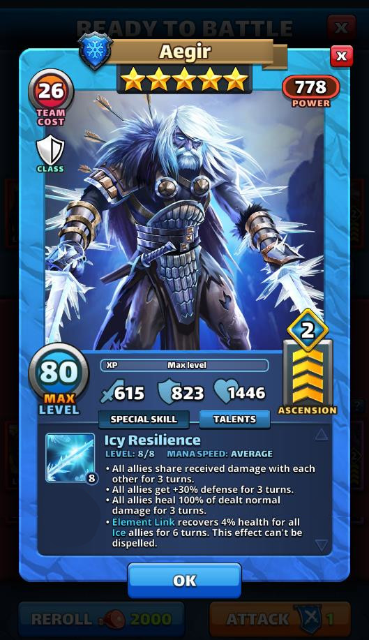 Empires and puzzles Hero Aegir
