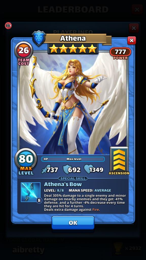 Empires and puzzles Hero Athena