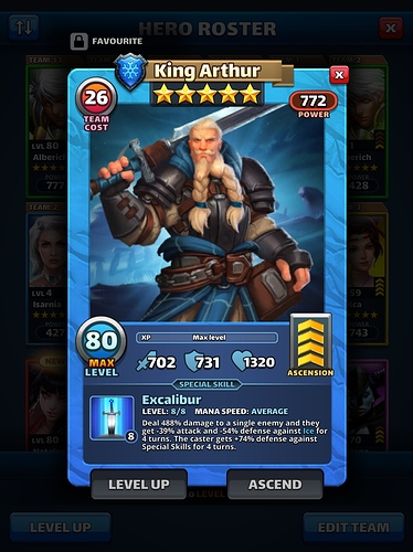 Empires and puzzles Hero King Arthur