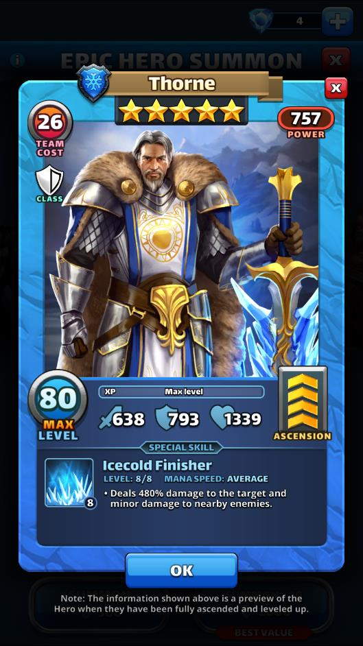 Empires and puzzles Hero Thorne