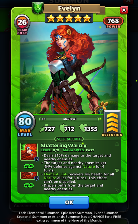 Empires and puzzles Hero Evelyn