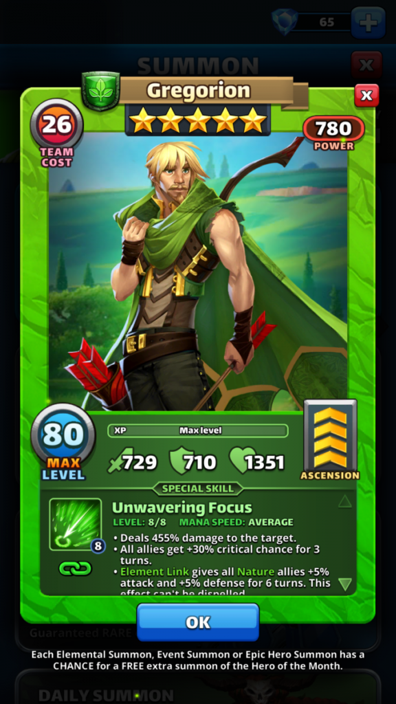Empires and puzzles Hero Gregorion