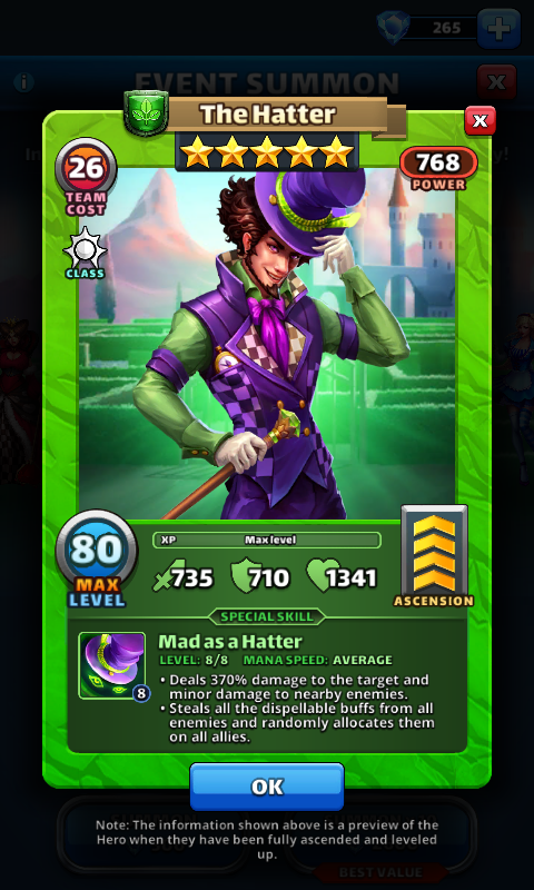 Empires and puzzles Hero The hatter