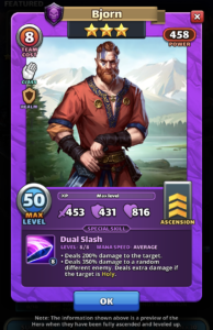 Empires and Puzzles Hero Bjorn