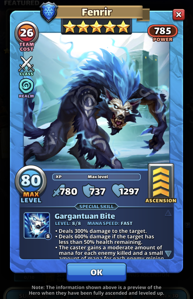 Empires and Puzzles Hero Fenrir