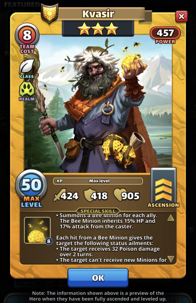 Empires and Puzzles Hero Kvasir