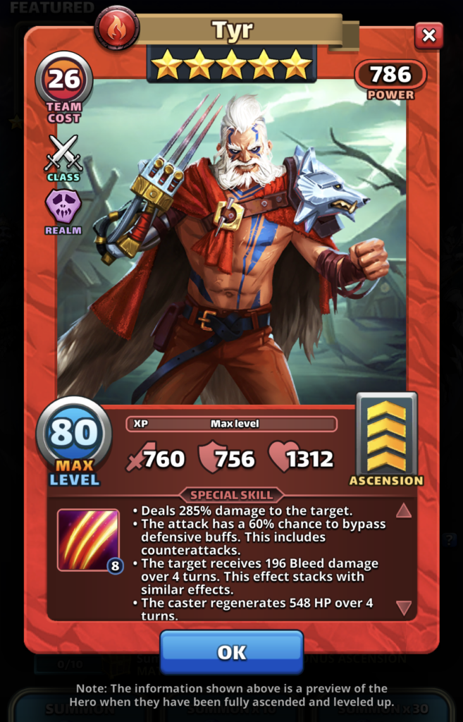 Empires and Puzzles Hero Tyr