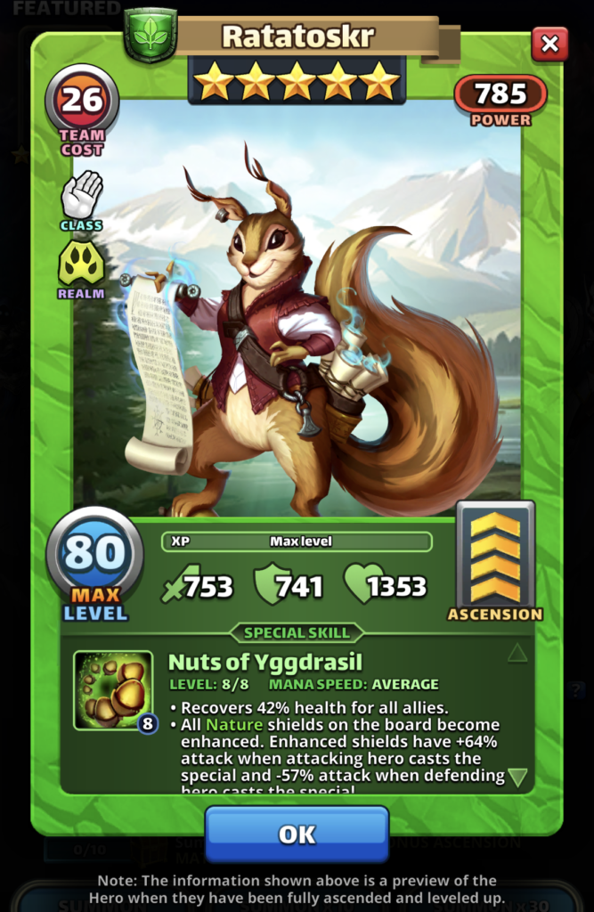 Empires and Puzzles hero Ratatoskr