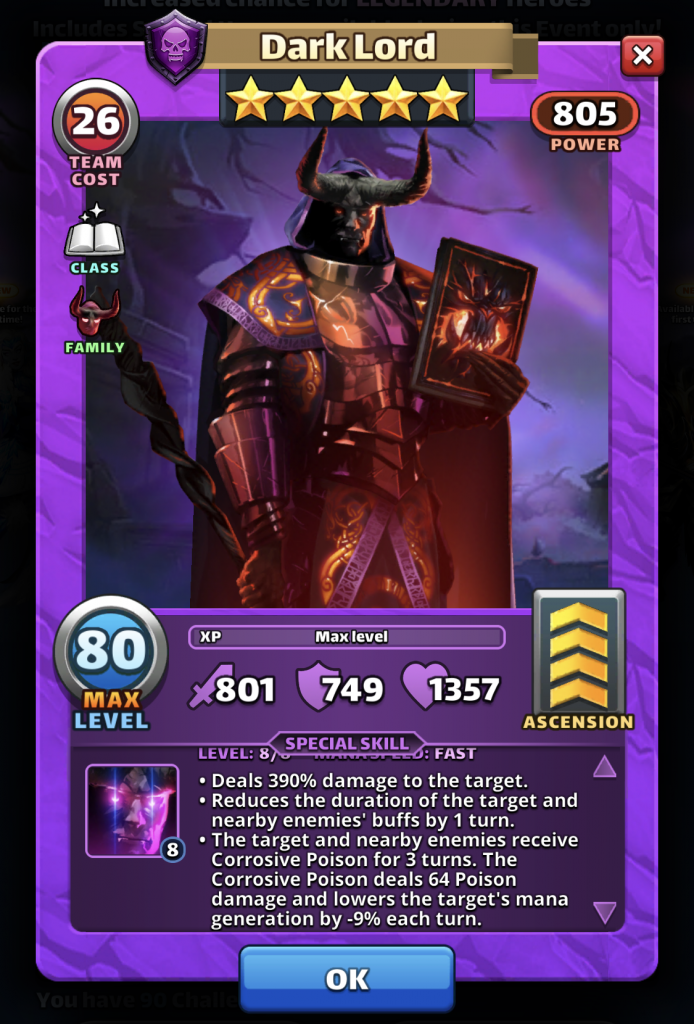 Empires and Puzzles Dark Lord